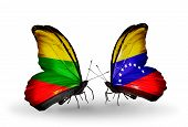 Two Butterflies With Flags On Wings As Symbol Of Relations Lithuania And Venezuela