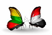 Two Butterflies With Flags On Wings As Symbol Of Relations Lithuania And Yemen