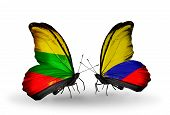 Two Butterflies With Flags On Wings As Symbol Of Relations Lithuania And Columbia