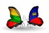 Two Butterflies With Flags On Wings As Symbol Of Relations Lithuania And Liechtenstein