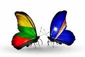 Two Butterflies With Flags On Wings As Symbol Of Relations Lithuania And Marshall Islands