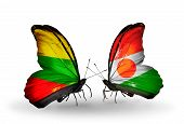 Two Butterflies With Flags On Wings As Symbol Of Relations Lithuania And Niger