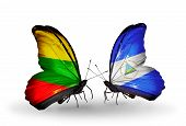 Two Butterflies With Flags On Wings As Symbol Of Relations Lithuania And Nicaragua
