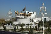 Ashgabat, Turkmenistan - October, 15 2014: Sculptural Composition To Fast Horses In The Park. Ashkha