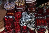 Knit Slippers And Embroidered Skull-caps  Turkmenistan. Ashkhabad Market.
