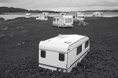 Camper Vans Parked On A Beach. Scotland. Uk