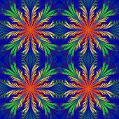 Beautiful Pattern From Fractal Flowers. Blue, Orange And Green Palette. Collection - Frosty Pattern.