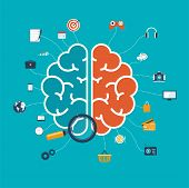 Brain With Icons Concept For Web And Mobile Apps Or Infographics