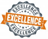 Excellence Orange Vintage Seal Isolated On White