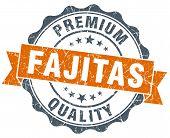 Fajitas Orange Vintage Seal Isolated On White
