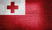 Tonga flag on burlap fabric