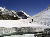 pic of cho-cho  - Silhouetted man crosses a glacier atop the Cho La Pass in the Himalaya Nepal - JPG