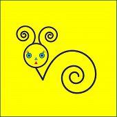 Snail icon  on yellow background