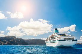 picture of greek-island  - Big cruise liners near the Greek Islands - JPG