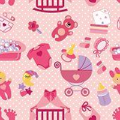 image of baby doll  - Cute Newborn seamless pattern for Baby girl - JPG