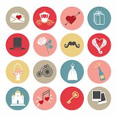 foto of romantic  - Cute romantic set of icons for Valentines day - JPG