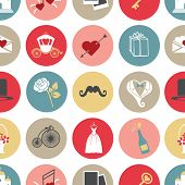 picture of romantic  - Cute romantic icons in seamless pattern - JPG