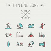 pic of ski boat  - Sports thin line icon set for web and mobile - JPG