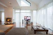 picture of home theater  - Big exclusive living room with home movie theater  - JPG
