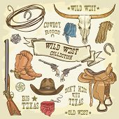 stock photo of texas-longhorn  - Wild West Icons isolated - JPG