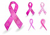stock photo of breast-stroke  - Breast cancer ribbon in pink with glitter flowers - JPG