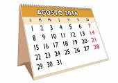 image of august calendar  - August month in a year 2016 calendar in spanish - JPG