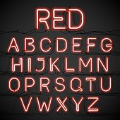 image of glow  - Red neon glow alphabet with wires - JPG