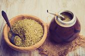 picture of mating  - Vintage photo of traditional yerba mate tea popular in latin america