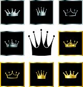 pic of crown  - set of golden and silver crowns vector illustration - JPG
