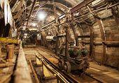 image of mines  - Interior of underground mine passage with rails - JPG