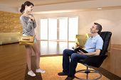picture of leaving  - Teenage daughter leaving single father to go out during the day - JPG