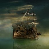picture of galleon  - A phantasmagoric old ship sailing in calm waters - JPG