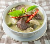 picture of curry chicken  - A Delicious Thai Spicy Green Curry with Green Eggplant Chicken and Coconut Milk One of The Most Famous Curry Recipes in The World - JPG
