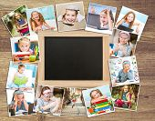 stock photo of little school girl  - Frame photos of little cute girl with school supplies - JPG