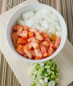 pic of onion  - Cuisine and Food Chopped Tomatoes Onions and Spring Onions on A Cutting Board - JPG