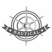 stock photo of rudder  - nautical label - JPG