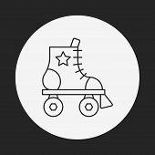 image of roller-derby  - Roller Skate Line Icon - JPG