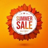 stock photo of decorative  - Sale illustrated flower at orange background vector concept - JPG