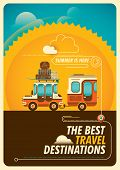 stock photo of travel trailer  - Comic traveling poster with trailer - JPG