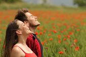 stock photo of breathing exercise  - Happy couple breathing fresh air in a colorful field with red poppy flowers - JPG