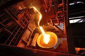 pic of blast-furnace  - Liquid metal from blast furnace on trail - JPG