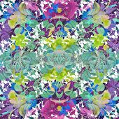 pic of vivid  - Digital collage technique vivid floral collage motif pattern in multicolored tones - JPG