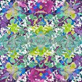 picture of vivid  - Digital collage technique vivid floral collage motif pattern in multicolored tones - JPG