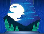 foto of stage decoration  - Stage with night landscape  - JPG