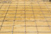 pic of concrete pouring  - Mesh steel rod for construction reinforcement before pouring concrete - JPG