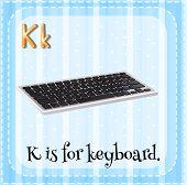 pic of letter k  - Flashcard letter K is for keyboard - JPG