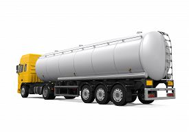 stock photo of tank truck  - Yellow Fuel Tanker Truck isolated on white background - JPG