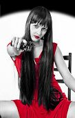 Very Dangerous Girl With Handgun (black, White And Red)