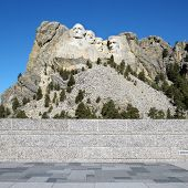 Front view of Mount Rushmore National Memorial from observation station.