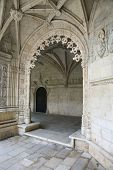 Oranate arched doorway in Jeronimos Monastery in Lisbon, Portugal.